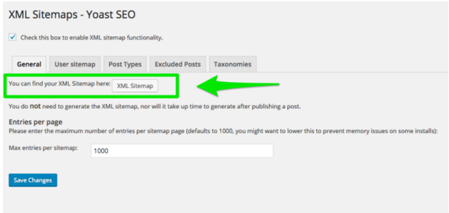 Yoast SEO plugin tab, visit your XML Sitemaps.