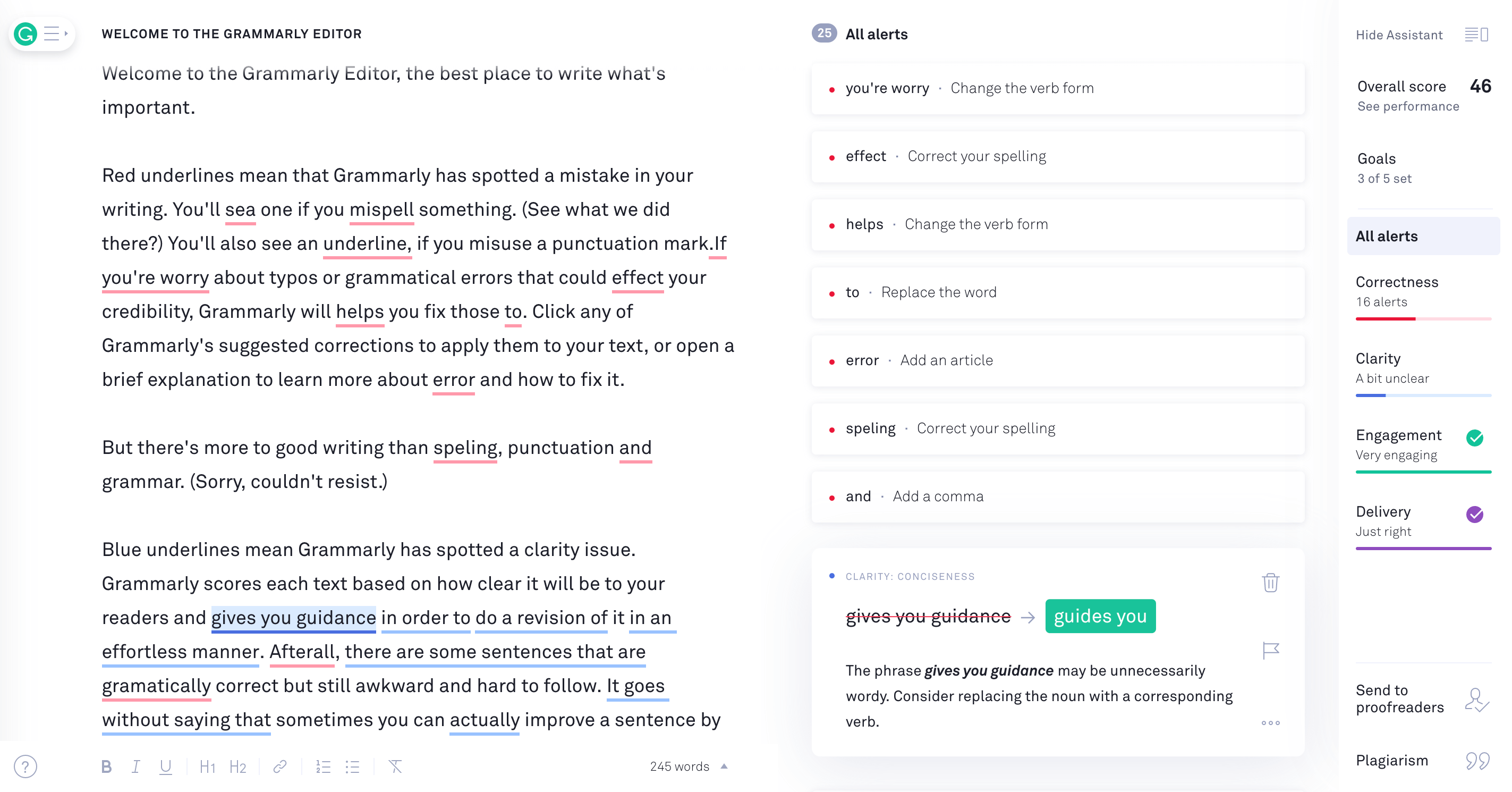 About Grammarly Editor