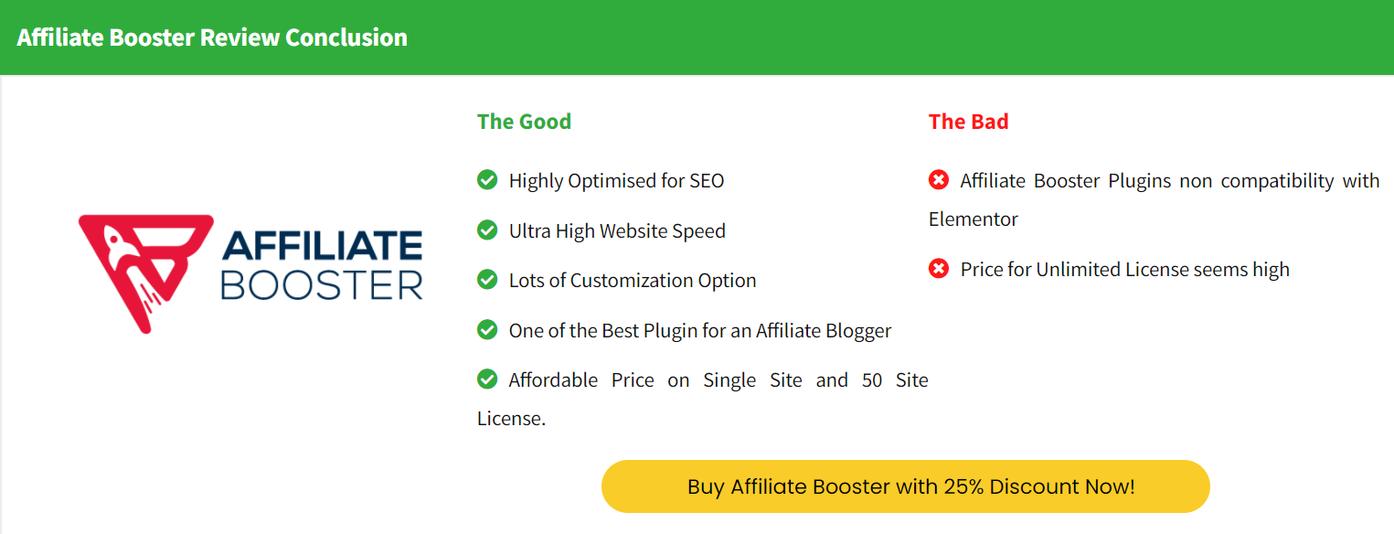 Affiliate Booster Review Conclusion