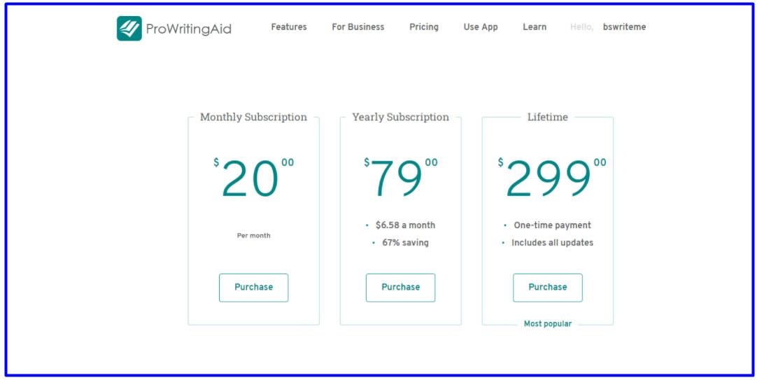 ProWritingAid Premium Features Price Cost