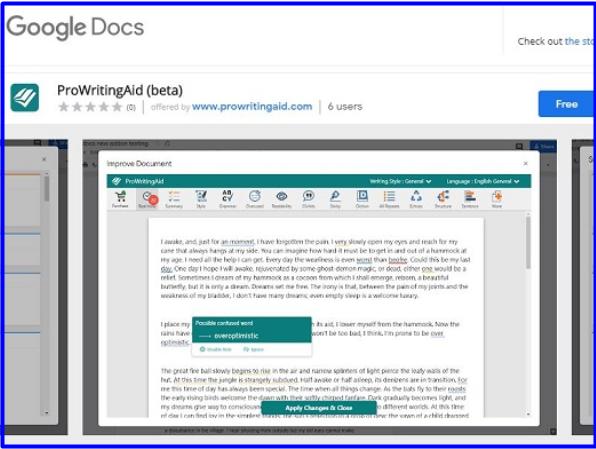 Prowritingaid Google Docs