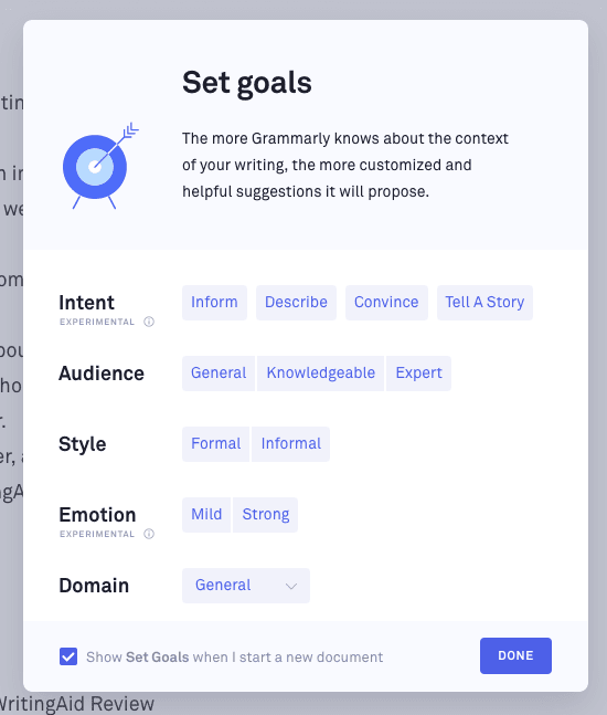The Grammarly goals feature